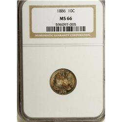 1886 10C MS66 NGC. The ruby, sapphire, sunset-orange,