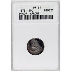1873 10C Arrows PR61 ANACS. Chalky gray patina covers