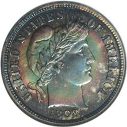 1898-S 10C MS66 NGC. This Premium Gem has sharp design