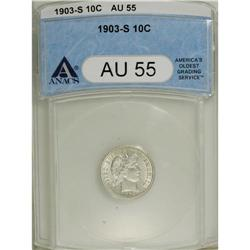 1903-S 10C AU55 ANACS. Bright silver-gray surfaces dis
