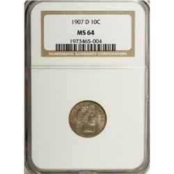 1907-D 10C MS64 NGC. A shimmering and solidly struck o
