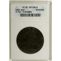 1801 50C --Cleaned--ANACS. VF20 Details. O-101, R.3. De