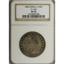 1803 50C Small 3 VF35 NGC. O-104, R.3. Faint mint lust