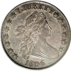 1806 50C Pointed 6, No Stem AU55 PCGS. O-109, R.1. Ful