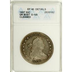 1807 50C Draped Bust--Cleaned--ANACS. XF40 Details. O-