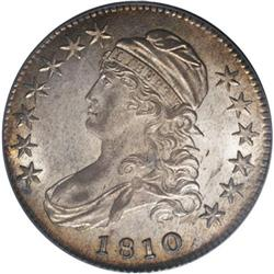1810 50C MS62 PCGS. O-104, R.3. Vertical die lines in