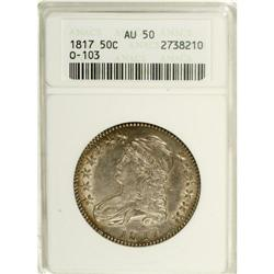 1817 50C AU50 ANACS, O-103, R.2, lustrous with light,