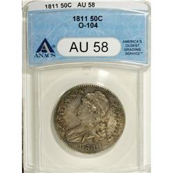 1811 50C Large 8 AU58 ANACS. O-104, R.1. A long die cr