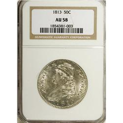 1813 50C AU58 NGC. O-103, R.2. This satiny and nearly
