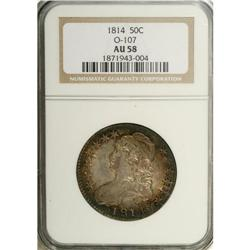 1814 50C AU58 NGC. O-107, R.2. Dappled golden-brown an