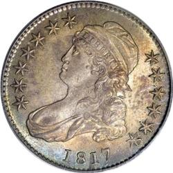 1817 50C MS64 PCGS. O-110, R.2. Among all 1817 half do