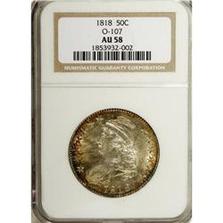 1818 50C AU58 NGC. O-107, R.1. Russet-gold and navy-bl