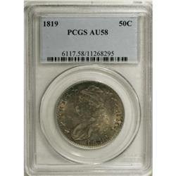 1819 50C AU58 PCGS. O-112, R.3. Luster resides in the