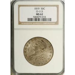 1819 50C MS62 NGC. O-113, R.1. Deep cream-gray, aqua,