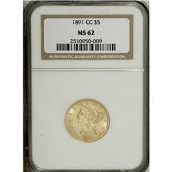 1891-CC $5 MS62 NGC. Well struck with softly frosted l