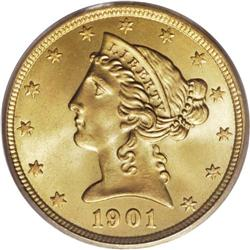 1901-S $5 MS67 PCGS. Although this date is one of the