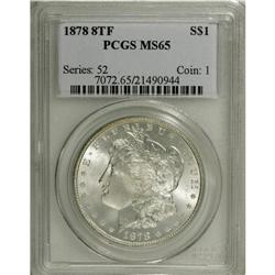 1878 8TF S$1 MS65 PCGS. VAM-14.1. Lemon, peach, and ic