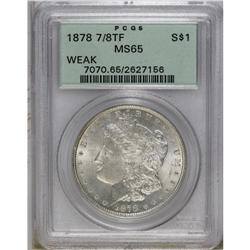 1878 7/8TF S$1 Weak MS65 PCGS. Brilliant-white and ful
