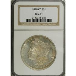 1878-CC S$1 MS61 NGC, blushes of light fold color occu