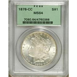 1878-CC S$1 MS64 PCGS. A penetratingly struck near-Gem
