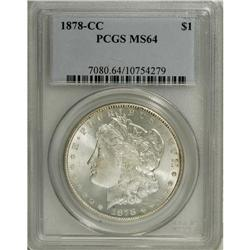 1878-CC S$1 MS64 PCGS. Highly lustrous and crisply str