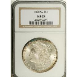 1878-CC S$1 MS65 NGC. This beautifully frosty Gem was