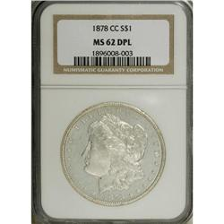 1878-CC S$1 MS62 Deep Mirror Prooflike NGC. Deeply mir