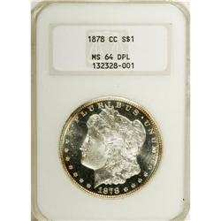 1878-CC S$1 MS64 Deep Mirror Prooflike NGC. Ice-blue t