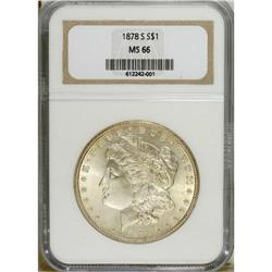 1878-S S$1 MS66 NGC. Dazzling luster complements crisp