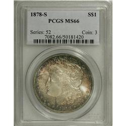 1878-S S$1 MS66 PCGS. Fabulous russet-red, amber-gold,
