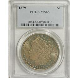 1879 S$1 MS65 PCGS. Soft reddish-gold patina with gree