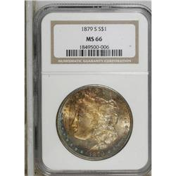 1879-S S$1 MS66 NGC. Rich orange-gold toning dominates