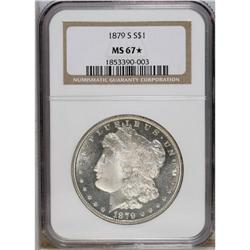 1879-S S$1 MS67 S NGC. The obverse is rather prooflik
