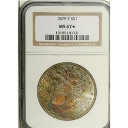 1879-S S$1 MS67 S NGC. A rich coating of speckled cri