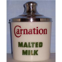 Carnation Malted Milk Jar  (Milk Glass)