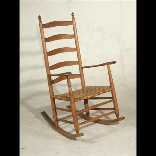 - ANTIQUE AMERICAN LADDER-BACK SHAKER ROCKING CHAIR