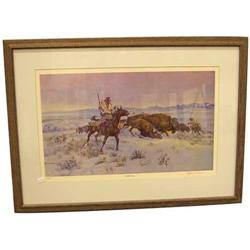 Ace Powell Print Signed and numbered 410/1000 titled ''Buffalo Hunt''