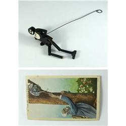Two pieces of Black Americana to include a folk art piece of a wood, jointed marionette type puppet