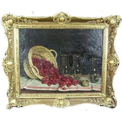 Cherries Cherry Basket Still Life Oil Painting #1371198