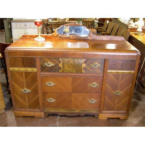 1940s art deco waterfall buffet or server 1350686. Black Bedroom Furniture Sets. Home Design Ideas