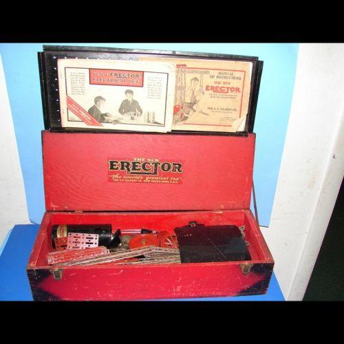 1929 Erector Set Erector Set In Red Box 2 Manuals Parts And Motor