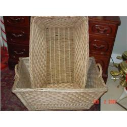 Two vintage cotton picking baskets (One