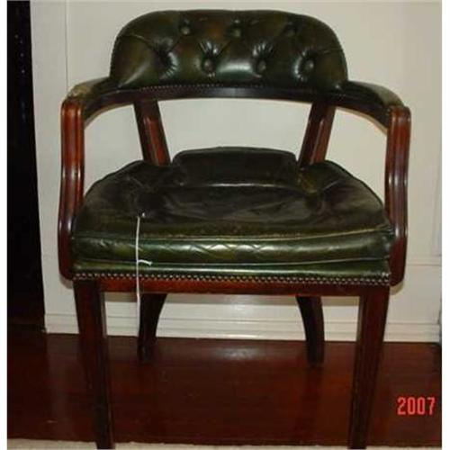 & Vintage green leather office chair