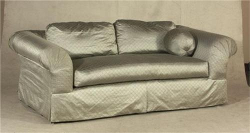MARGE CARSON DESIGNER SOFA, TAUPE SILK UPHOLSTERY. Loading Zoom