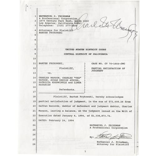 Charles Manson Signed Legal Documents