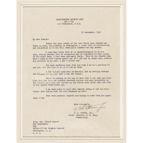 George S Patton Jr 1943 Typed Letter Signed