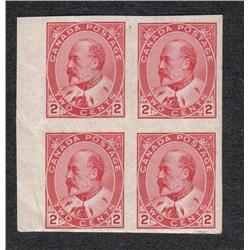#90a VF NH IMPERF MARGIN BLOCK OF 4  C$300,00