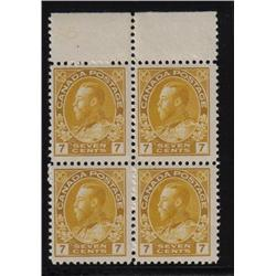 #113b F-VF NH STRAW SHADE BLOCK 4 *ADMIRAL* C$1200,00