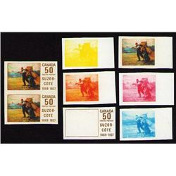 #492 TRIAL COLOR PROOF AND IMPERF PAIRE SET ON CARD