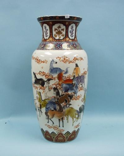 An Antique Japanese Imari Porcelain Floor Vase Hand Painted